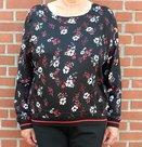 Shirt-met-bloemen-Dames-Zwart